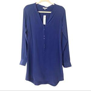 LaMade Blue Silk Long Sleeve Shirt Dress S